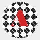 Monogrammed Argyle Sticker