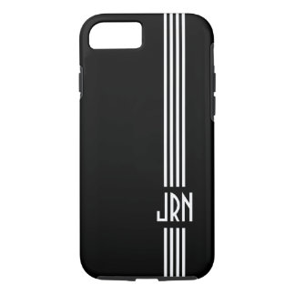 Monogrammed Art Deco | Black and White iPhone 7 Case
