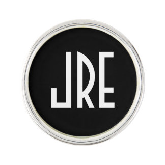 Monogrammed Art Deco | Black and White Lapel Pin