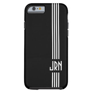 Monogrammed Art Deco | Black and White Tough iPhone 6 Case