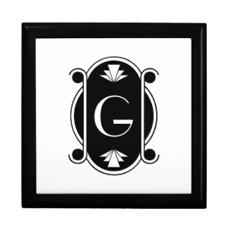 Monogrammed Art Deco Large Square Gift Box
