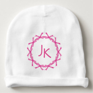 Monogrammed  Baby Hat with Pink Ribbons Baby Beanie