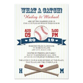 Monogrammed Baseball Couples Wedding Shower 13 Cm X 18 Cm Invitation Card
