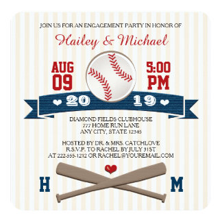 MONOGRAMMED BASEBALL ENGAGEMENT PARTY 13 CM X 13 CM SQUARE INVITATION CARD