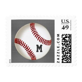 MONOGRAMMED Baseball Postage Stamps on Burnished G