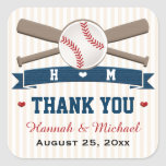 MONOGRAMMED BASEBALL THANK YOU WEDDING FAVOR SQUARE STICKER