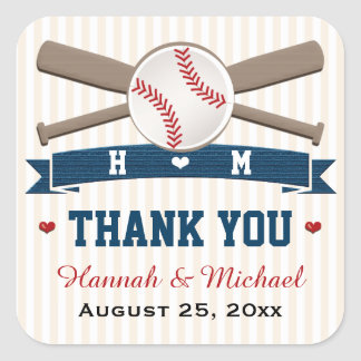 MONOGRAMMED BASEBALL THANK YOU WEDDING FAVOR SQUARE STICKERS