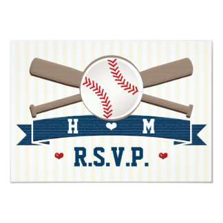 MONOGRAMMED BASEBALL WEDDING RESPONSE CARDS 9 CM X 13 CM INVITATION CARD