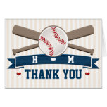 MONOGRAMMED BASEBALL WEDDING THANK YOU NOTE CARD