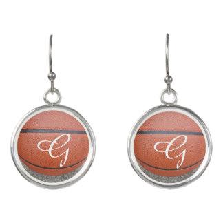 Monogrammed Basketball Earrings