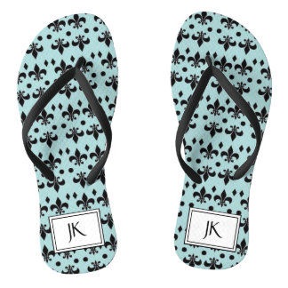 Monogrammed Beachy Seahorse Teal and Black Sandals
