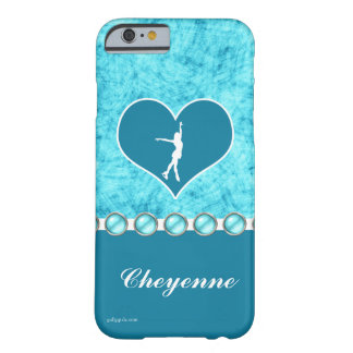 Monogrammed Beautiful Turquoise Figure Skater Barely There iPhone 6 Case