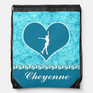 Monogrammed Beautiful Turquoise Figure Skater Drawstring Bag