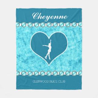 Monogrammed Beautiful Turquoise Figure Skater Fleece Blanket