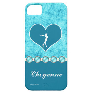 Monogrammed Beautiful Turquoise Figure Skater iPhone 5 Case