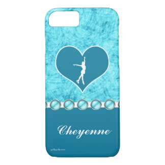 Monogrammed Beautiful Turquoise Figure Skater iPhone 7 Case