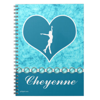 Monogrammed Beautiful Turquoise Figure Skater Spiral Note Books