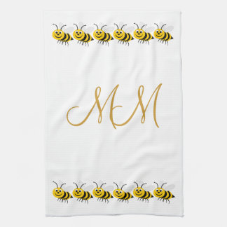 Monogrammed Bees American MoJo Kitchen Towel