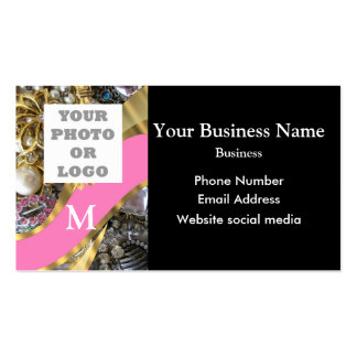 Monogrammed black and gold jewelry and logo pack of standard business cards
