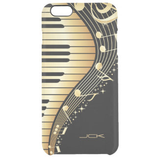 Monogrammed  Black And Gold Music Notes Design iPhone 6 Plus Case