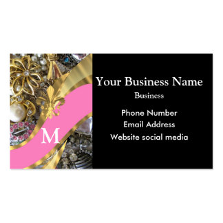 Monogrammed black and  pink artistic jewelry pack of standard business cards
