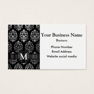 Black and silver damask monogram business cards business card monogrammed black and silver damask business card reheart Gallery