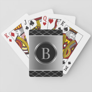 Monogrammed Black And Silver Geometric Design Playing Cards