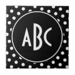 Monogrammed Black and White Polka Dots