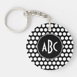 Monogrammed Black and White Polka Dots Double-Sided Round Acrylic Key Ring