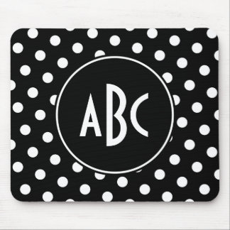 Monogrammed Black and White Polka Dots Mouse Pads