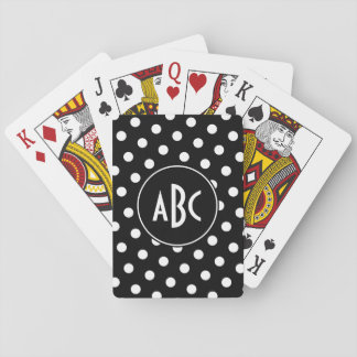 Monogrammed Black and White Polka Dots Playing Cards