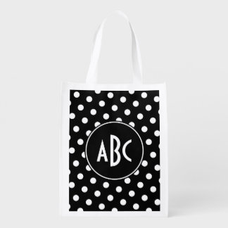 Monogrammed Black and White Polka Dots Reusable Grocery Bag
