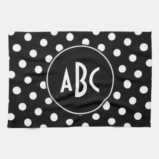 Monogrammed Black and White Polka Dots Tea Towel