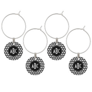 Monogrammed Black and White Polka Dots Wine Charm