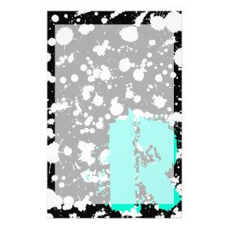 Monogrammed Black and White Splatter Paint Art Stationery Design