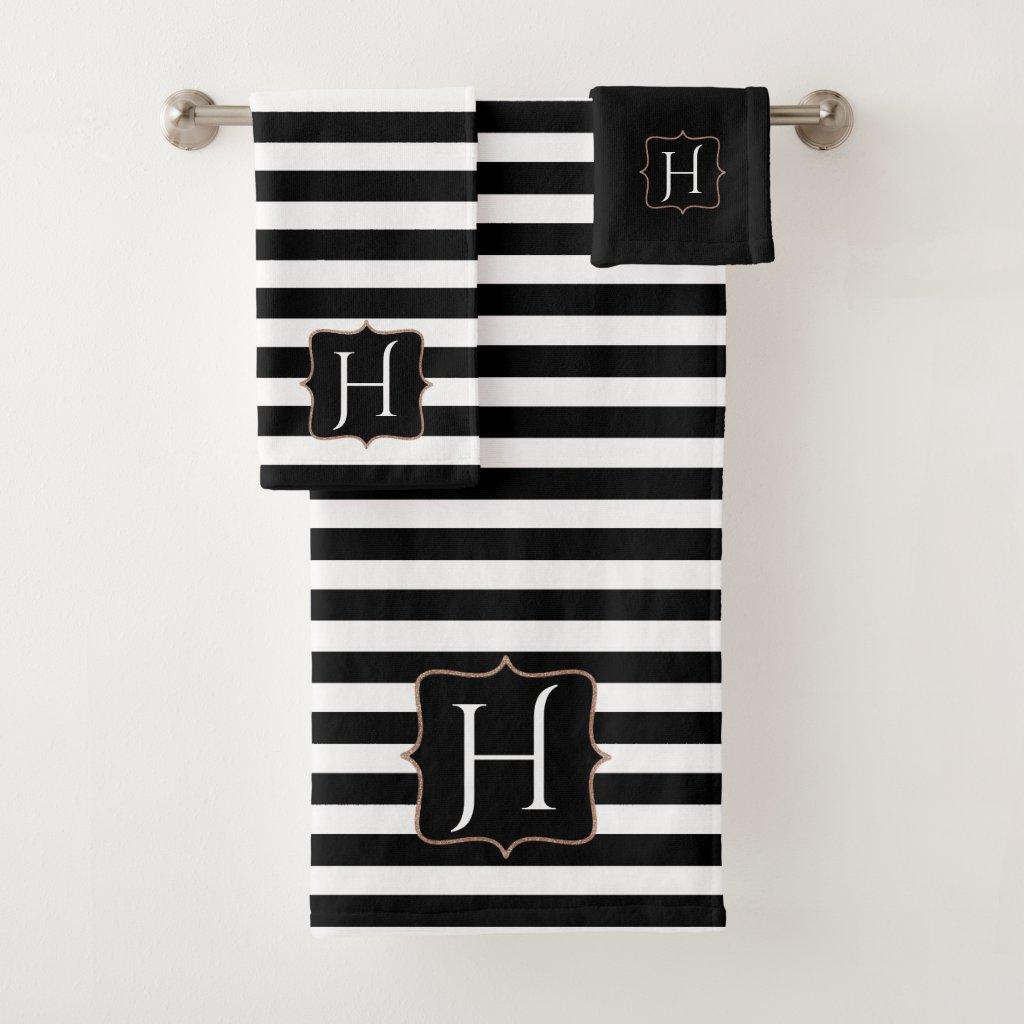 Monogrammed Black and White Striped Bath Towel Set