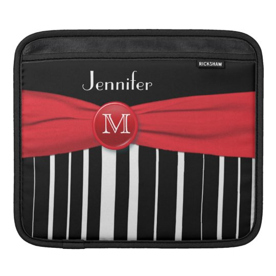 Monogrammed Black and White Stripes with Red iPad Sleeve