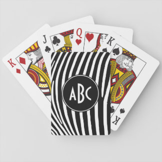 Monogrammed Black and White Zebra Stripes Playing Cards