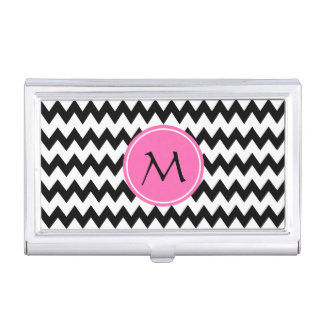 Monogrammed Black and White Zigzag Pattern Case For Business Cards