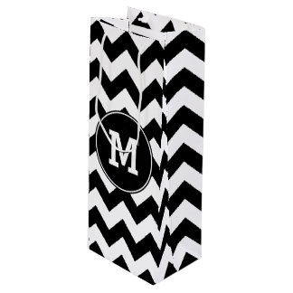 Monogrammed Black and White Zigzag Wine Gift Bag