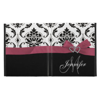 Monogrammed Black Damask Pink Bow Diamond Hearts iPad Folio Covers