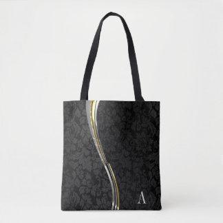 Monogrammed Black Damask Wave Stripes Tote Bag