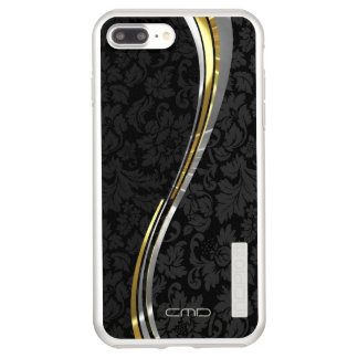 Monogrammed Black Damasks Silver And Gold Accents Incipio DualPro Shine iPhone 8 Plus/7 Plus Case