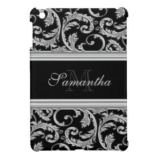 Monogrammed black elegant floral pattern iPad mini covers
