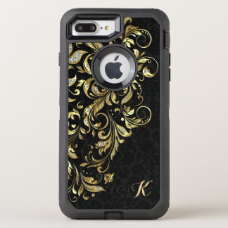 Monogrammed Black Gold & White Glitter Floral Lace OtterBox Defender iPhone 8 Plus/7 Plus Case