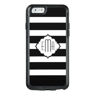 Monogrammed Black Horizontal Stripes OtterBox iPhone 6/6s Case