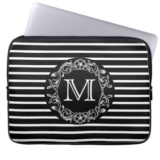 Monogrammed Black HS Floral Laptop Sleeve