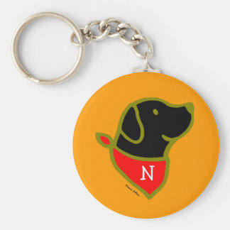 Monogrammed Black Lab & Scarf Cartoon Key Ring