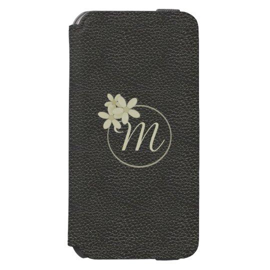 Monogrammed Black Leather Effect iPhone 6s Wallet Incipio