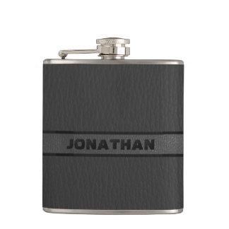 Monogrammed Black Leather Hip Flask